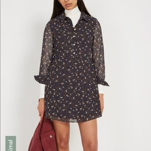 Frank & Oak Printed Fit and Flare Dress in Navy